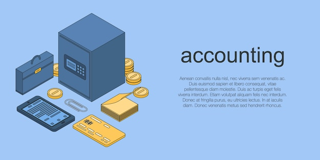 Accounting concept banner, isometric style