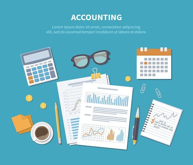会計の概念。財務分析、分析、データ収集、計画、統計、調査。ドキュメント、フォーム、チャート、グラフ、カレンダー、電卓、ノート、コーヒー、テーブルの上のペン。上面図。