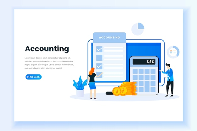 Accounting concept illustration landing page