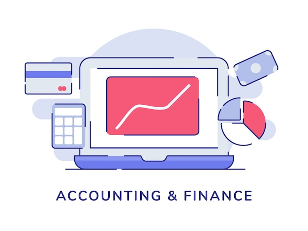 Accounting and finance concept with flat outline style