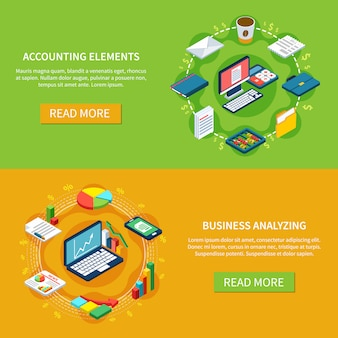 Accounting horizontal banners collection