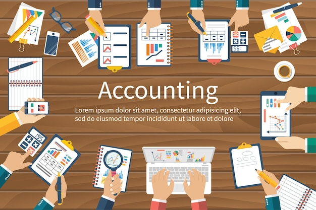 Accounting illustration, top view. teamwork on accounting, planning strategy, analysis, marketing research and financial management.