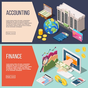 Accounting isometric  banner set set