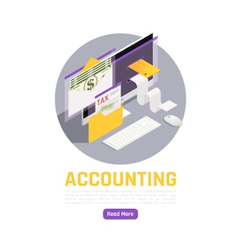 Accounting isometric composition with tax notice dollar banknotes bank card and paid check elements