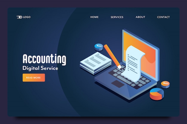 Accounting isometric landing page