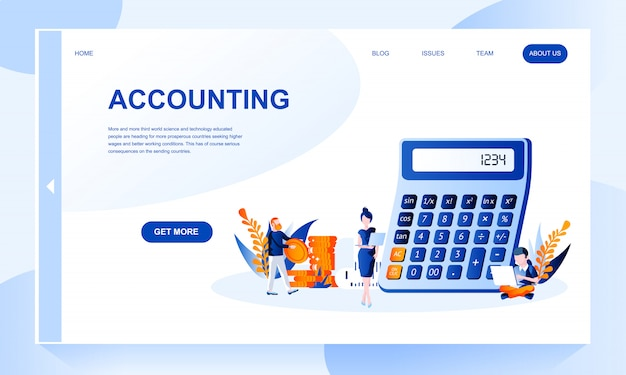 Accounting landing page template with header