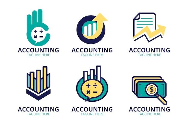 Коллекция логотипов бухгалтерского учета в плоском дизайне
