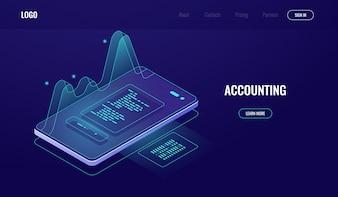 会計、お金の監査、財務管理の概念、グラフィックデータ付き携帯電話