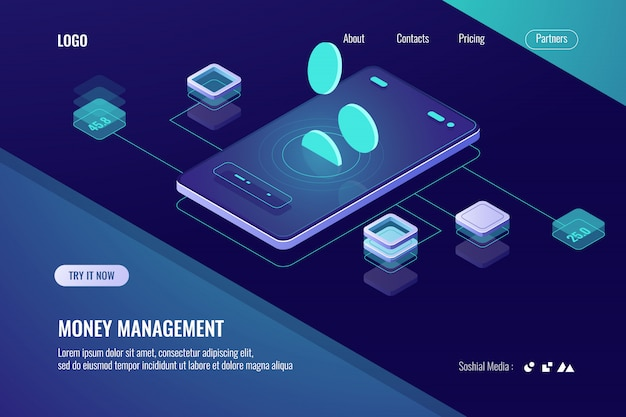 Accounting money, isometric online bank, horizontal banner of mobile application for cryptocurrency