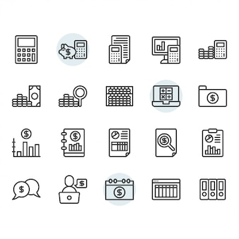 Accounting related thin line icon set