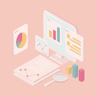 会計システム、パステルコンセプト。コンピュータのラップトップ、グラフ画面、作業スペースがあります。ベクトルイラスト