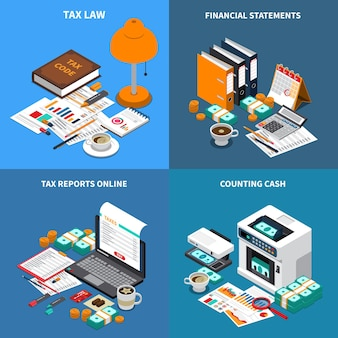Accounting tax 4 isometric compositions concept with financial statements reports online and cash counting machine