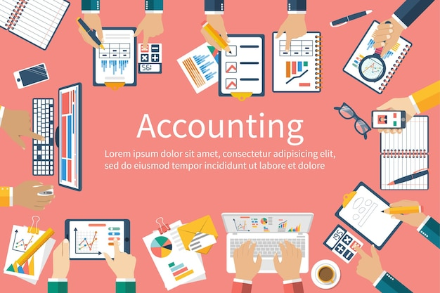 Accounting. teamwork on accounting, planning strategy, analysis, marketing research, financial management. business meeting, teamwork, brainstorming. team of businessmen in work.