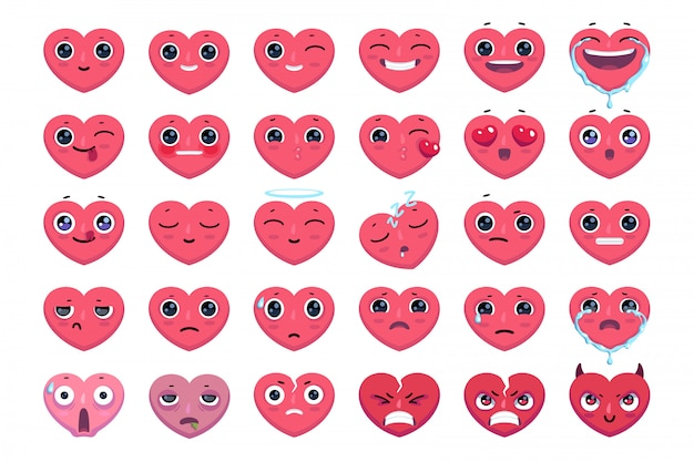 Accurate hearts emoticon without strokes. cute heart emoji set