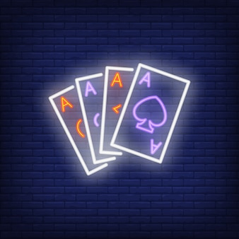 Ace cards neon sign