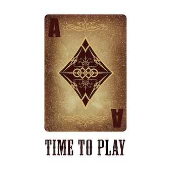 Ace of diamonds. playing card. old paper and vintage style
