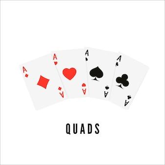 エース。トランプ4種類またはクワッド。ポーカーまたはブラックジャックの勝者カード。ベクトルイラスト