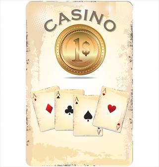 Ace poker с золотыми покерными фишками