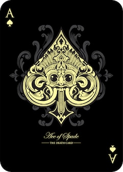 Ace of spade playing card design inspired from barong bali