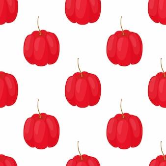 Acerola berry seamless pattern.