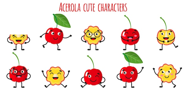 Acerola fruit cute funny cheerful characters with different poses and emotions. natural vitamin antioxidant detox food collection.   cartoon isolated illustration.