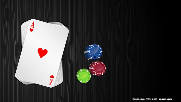 Aces cards with colorful poker chips on a dark background