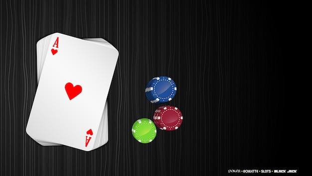 暗い背景にカラフルなポーカーチップを持つエースカード