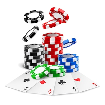 Aces lying near realistic chips or playing cards of different suits and stack of falling gambling 3d tokens.