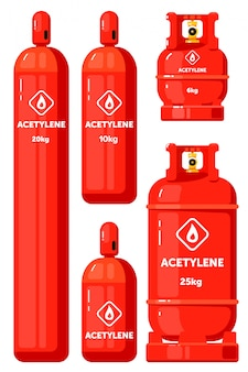 Acetylene gas container set  on white