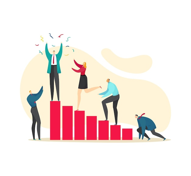 Achieve goal, success career progress, vector illustration. business man woman people character climb to career, flat leadership. success achievement, male leader celebrate at high stage concept.