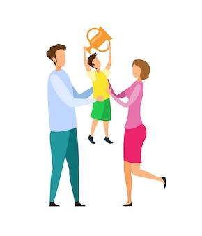 Achievement celebration flat vector illustration