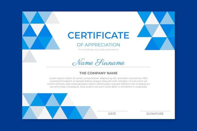 Certificato di apprezzamento conseguito