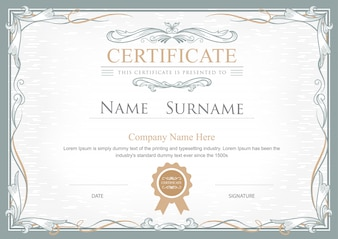 Сертификат достижения расцветает элегантный винтажный вектор Templa