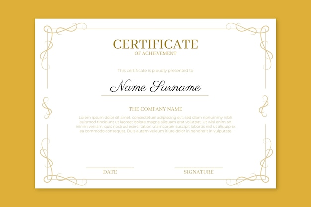 Achievement certificate with elegant frames