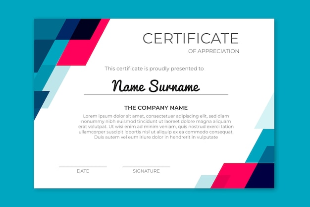 Achievement certificate with geometric shapes