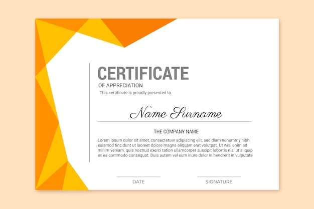 Achievement certificate with golden frame design