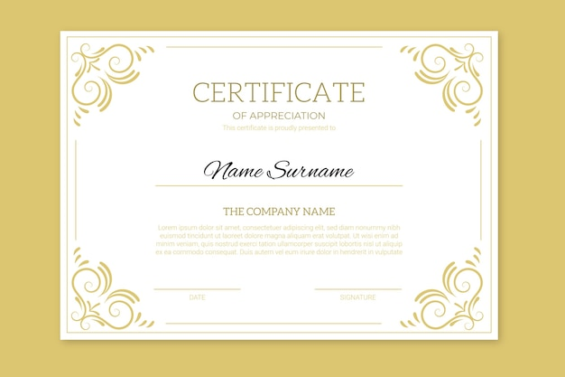Achievement certificate with golden frames
