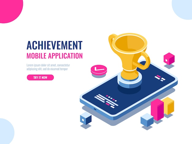 Achievement in education process isometric, mobile phone with golden cup, winner smartphone game