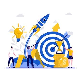 성취, 목표, 작은 성격의 리더십 개념. 골든 컵 플랫을 들고 사업 지도자입니다. 도전과 자신감, 성공 은유를 축하하는 비즈니스 팀.