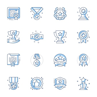 Achievement and goals linear vector illustrations set.
