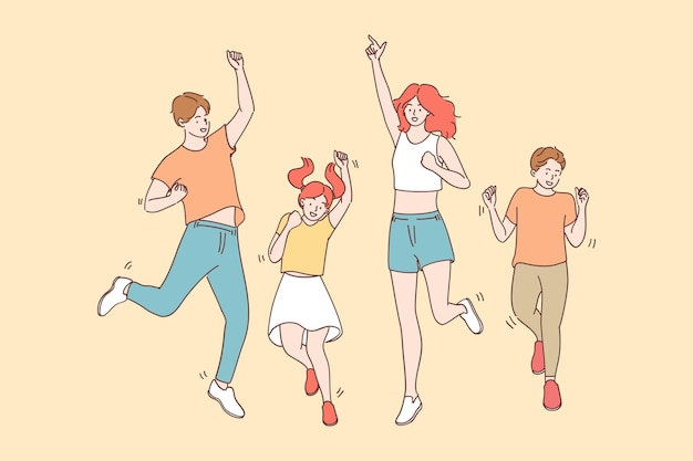 Achievement, joy, celebration concept. happy cheerful joyful big family with children jumping together celebrating luck and feeling great having fun