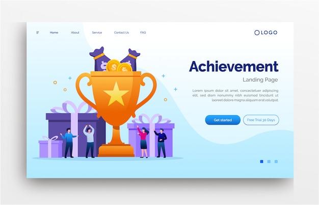 Achievement landing page website illustration flat   template eps