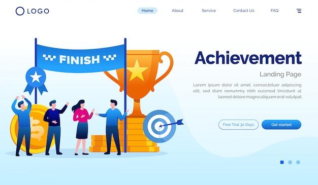 Achievement landing page website illustration flat vector template