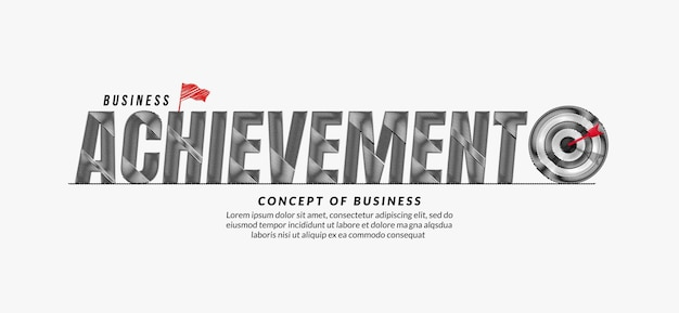 Achievement scribble text design background, business target lettering typography concept