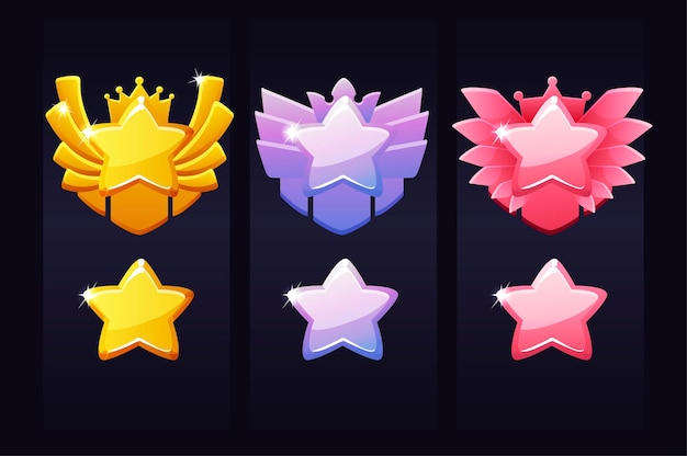 Звезды достижений за игру, ярлыки награды победителю