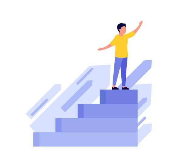 성취 성공 경력 비전 미래 계단을 통해 목표를 잡아 미래 계획을 찾고