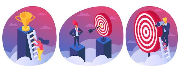 Цель достижения успеха, победа в концепции бизнес-конкуренции, иллюстрации. люди-лидеры-победители получают приз в испытании.