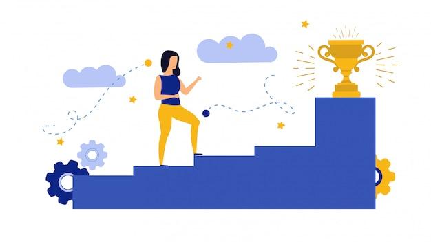 Achievement target career challenge flat illustration.