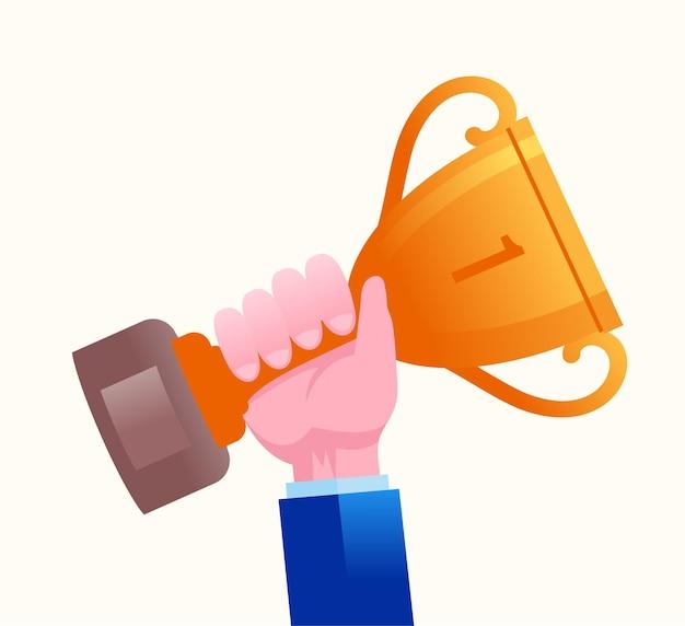 Achievement trophy flat vector illustration banner