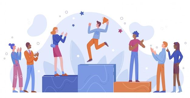 Achievement win podium illustration, cartoon flat happy winner character jumping on first place winning podium, people applauding champion isolated on white